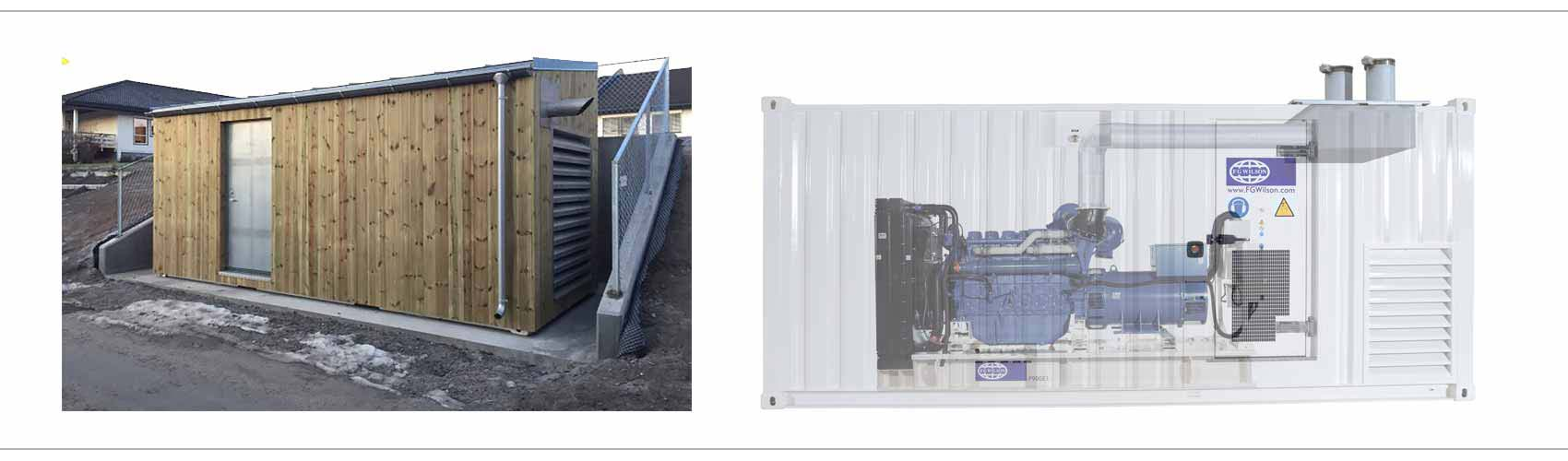Vi leverer flere ulike typer reservekraftsaggregater montert i container